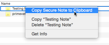 Copying a Secure Note's contents